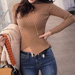 Seoul Fashion - Cutout-Hem Diagonal Rib-Knit Top