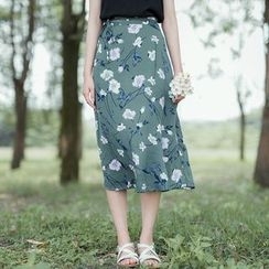 Sens Collection - Printed Midi A-Line Skirt
