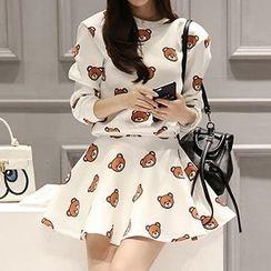 Fashion Street - Set: Long-Sleeve Bear Printed Top + Skirt