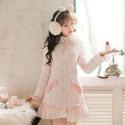Candy Rain - Lace Hem Woolen Long Coat