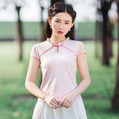 GU ZHI - Short-Sleeve Ruffled Blouse