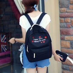 Seok - Lettering Embroidered Canvas Backpack with Pouch