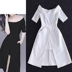 lilygirl - Off-Shoulder Slit Cocktail Dress