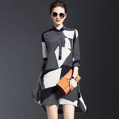 chome - Stripe 3/4-Sleeve A-Line Dress