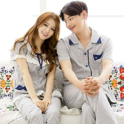 SHIRLEY - Couple Matching Pajama Set: Dotted Short Sleeve Top + Pants