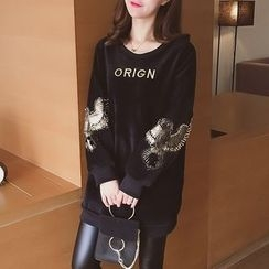 Cocofield - Embroidered Letter Velvet Sweatshirt