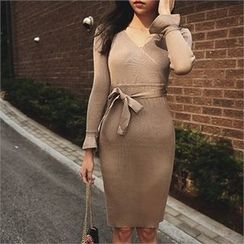 ERANZI - Wrap-Front Knit Dress with Sash