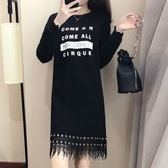 Cherry Dress - Eyelet Detail Fringe Hem Lettering Long-Sleeve Dress
