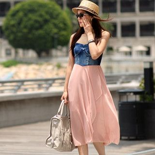 59 Seconds - Denim Panel Strapless Dress