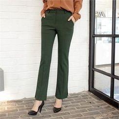 Styleberry - Slit-Hem Boot-Cut Pants