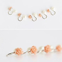 Bmuse - Faux Pearl Rose Ear Cuff / Clip On Earrings