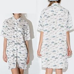 Richcoco - Printed Elbow Sleeve Shirt Dress