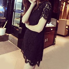 Hazie - Short-Sleeve Lace Dress