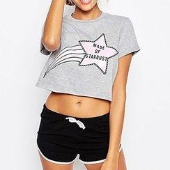 Richcoco - Star Print Short Sleeve Cropped T-Shirt