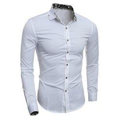 Hansel - Pattern Trim Collar Long-Sleeve Shirt