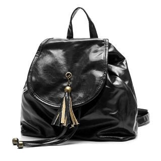 Smoothie - Tasseled Drawstring Patent Backpack