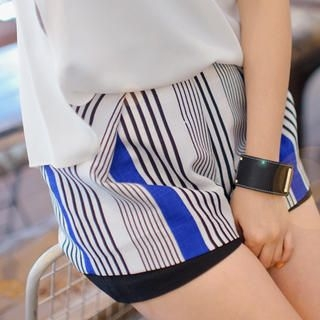 45SEVEN - Striped Layered Shorts