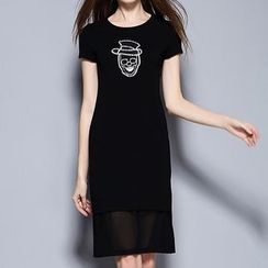 Merald - Rhinestone Skull Mesh Insert Knit T-Shirt Dress
