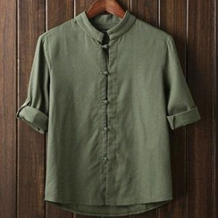 Aozora - Chinese Frog Button Tab Sleeve Shirt