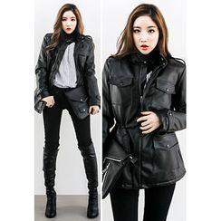 INSTYLEFIT - Faux-Leather Safari Jacket
