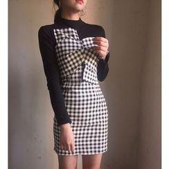 Octavia - Mock Two Piece Gingham Long Sleeve Mini Dress