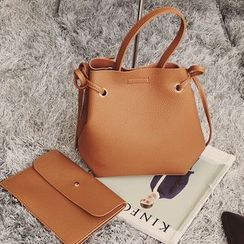 Diamante - Set of 2: Faux Leather Bucket Bag + Pouch