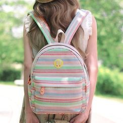 SUPER LOVER - Canvas Striped Backpack