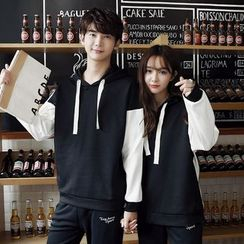 Je T'aime - Couple Matching Color Panel Hoodie