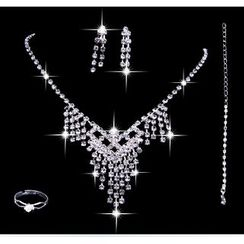 Posh Bride - Bridal Set: Rhinestone Necklace + Earrings + Ring + Bracelet