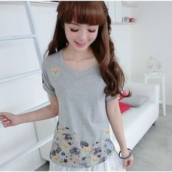 59 Seconds - Tab-Sleeve Owl Embroidered Printed T-Shirt