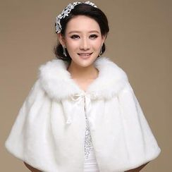 Bridal Workshop - Faux-Fur Bow-Accent Cape