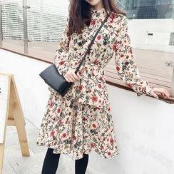 Kofushi - Floral Print Midi Chiffon Dress