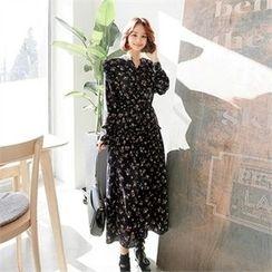 ZIZIBEZIRONG - Tie-Front Floral Print Long Dress