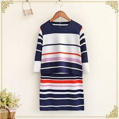 Fairyland - Set: Striped Long Sleeve Knit Top + Striped Mini Knit Skirt