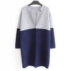 FR - Two Tone Snap Button Long Cardigan