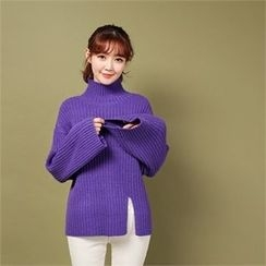 Styleberry - Turtle-Neck Slit-Hem Rib-Knit Sweater