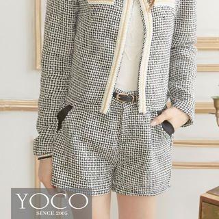 Tokyo Fashion - Contrast-Trim Tweed Shorts
