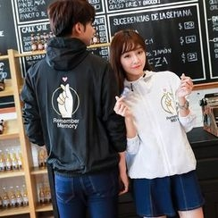 TOOI - Couple Matching Finger Print Hooded Zip Jacket