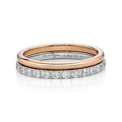 Kenny & co. - Double Ring with IP Rose Gold Steel & Crystal