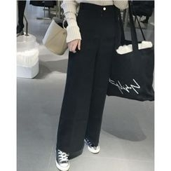 時尚麻豆家 - 純色高腰寬腿長褲