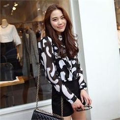 midnightCOCO - Patterned Dual-Pocket Chiffon Blouse