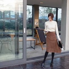 mimi&didi - Asymmetric-Hem Corduroy Long Skirt