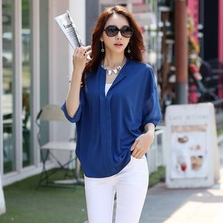 Styleonme - Drop-Shoulder Chiffon Blouse