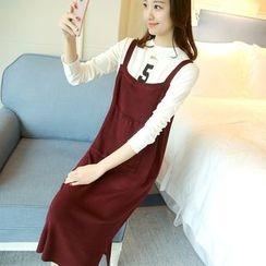 Ageha - Set: Number Print Long-Sleeve T-Shirt + Knit Pinafore Dress
