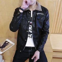 Besto - Lettering Fleece Collar Faux Leather Jacket