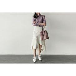 UPTOWNHOLIC - Zip-Back Ruffle-Hem Midi Skirt