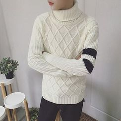 DragonRoad - Striped Turtleneck Sweater