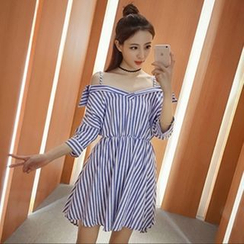 MayFair - Stripe Off-Shoulder A-Line Dress