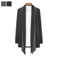 DANGOON - Shawl-Collar Two-Tone Cardigan
