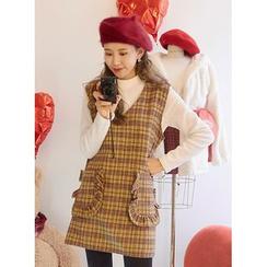 icecream12 - V-Neck Sleeveless Check Mini Dress